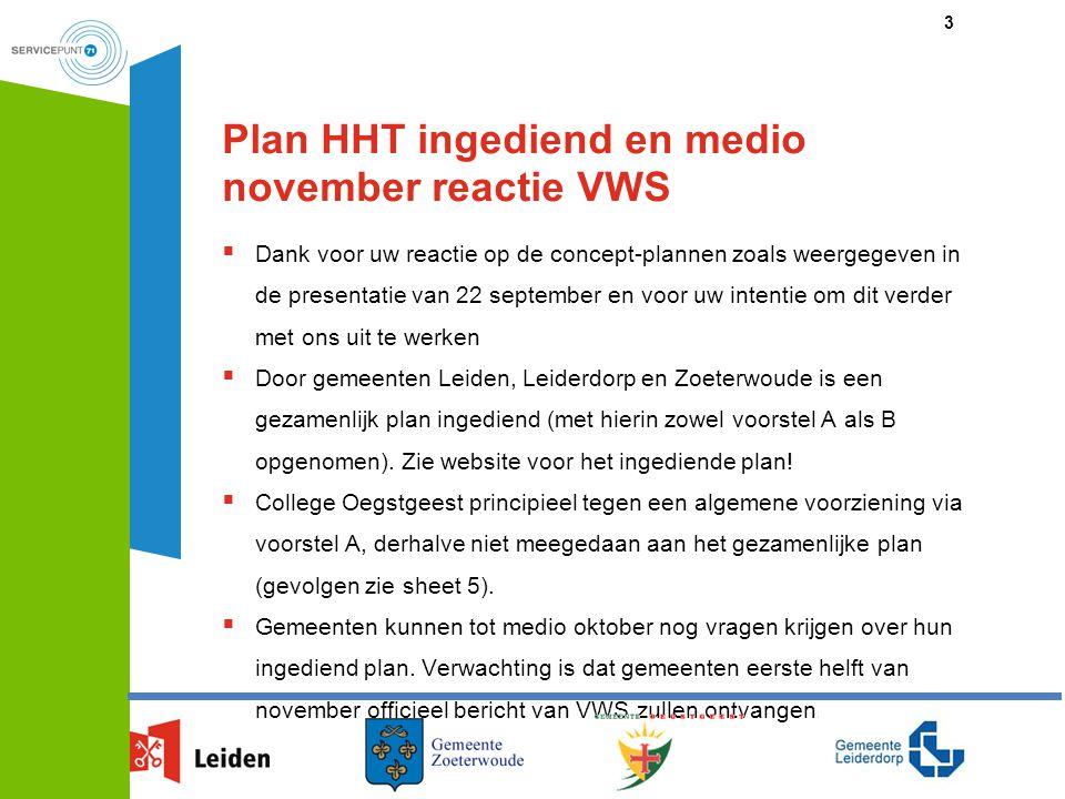 Plan HHT ingediend en medio november reactie VWS  Dank voor uw reactie op de concept-plannen zoals weergegeven in de presentatie van 22 september en