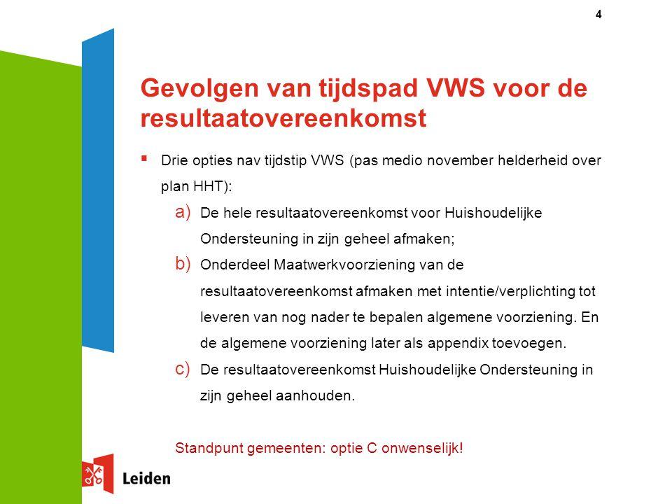 Gevolgen van tijdspad VWS voor de resultaatovereenkomst  Drie opties nav tijdstip VWS (pas medio november helderheid over plan HHT): a) De hele resul