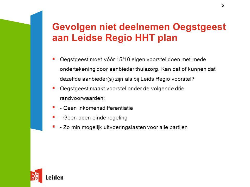 Gevolgen niet deelnemen Oegstgeest aan Leidse Regio HHT plan  Oegstgeest moet vóór 15/10 eigen voorstel doen met mede ondertekening door aanbieder th