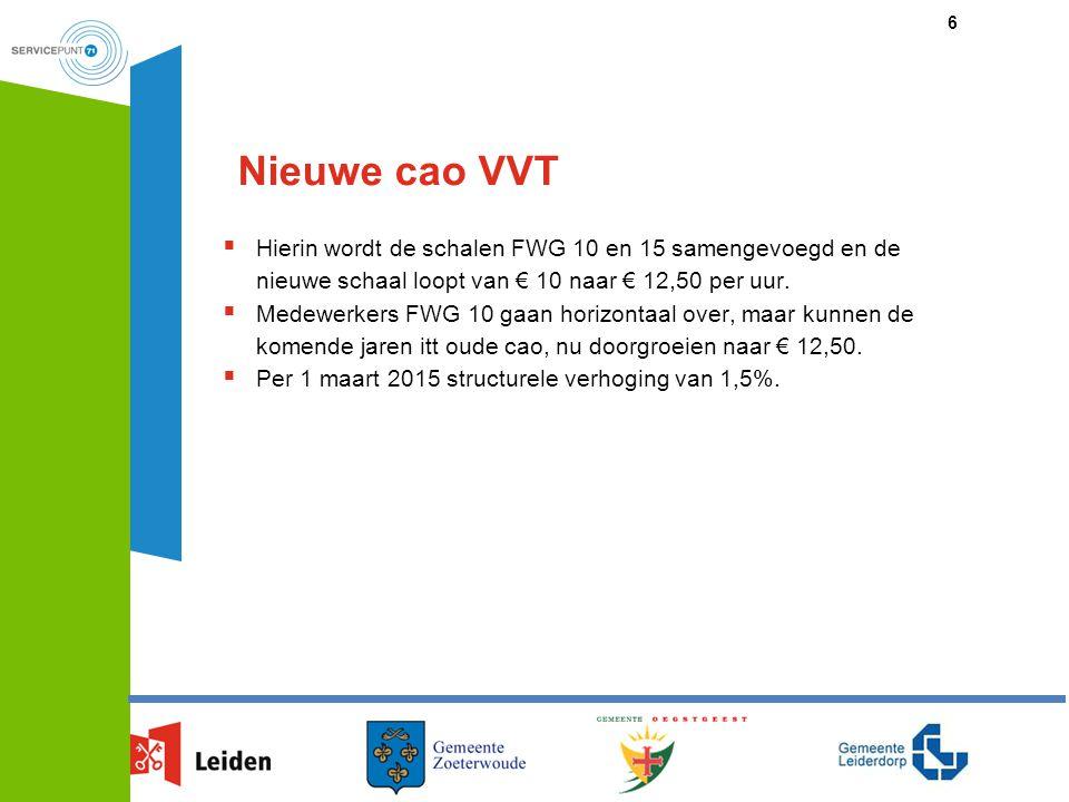 Nieuwe cao VVT  Hierin wordt de schalen FWG 10 en 15 samengevoegd en de nieuwe schaal loopt van € 10 naar € 12,50 per uur.  Medewerkers FWG 10 gaan