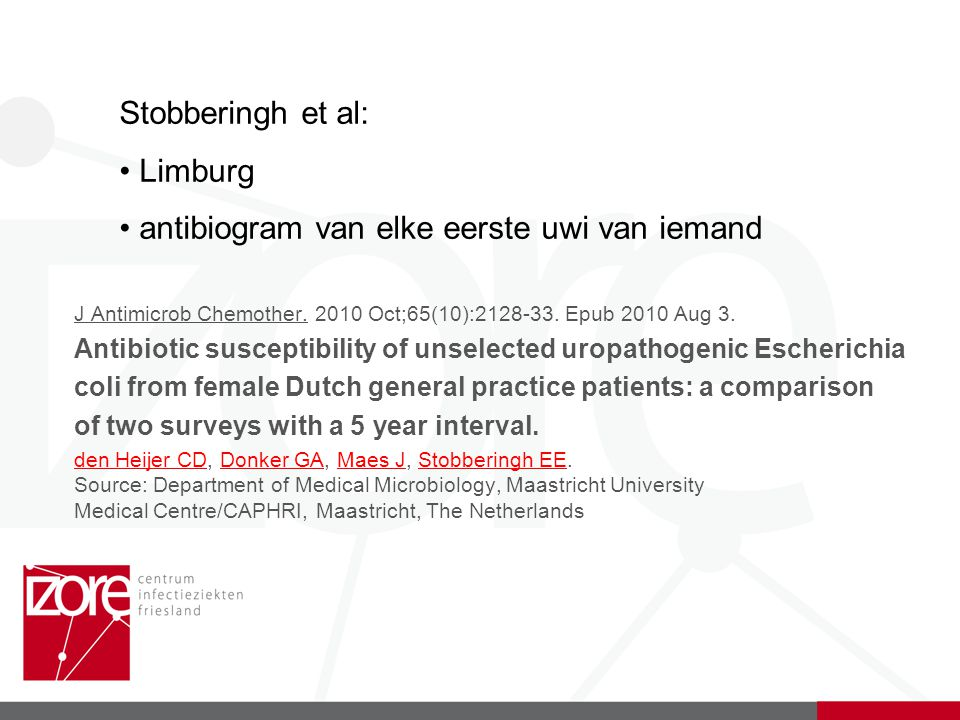 J Antimicrob Chemother. 2010 Oct;65(10):2128-33. Epub 2010 Aug 3. Antibiotic susceptibility of unselected uropathogenic Escherichia coli from female D