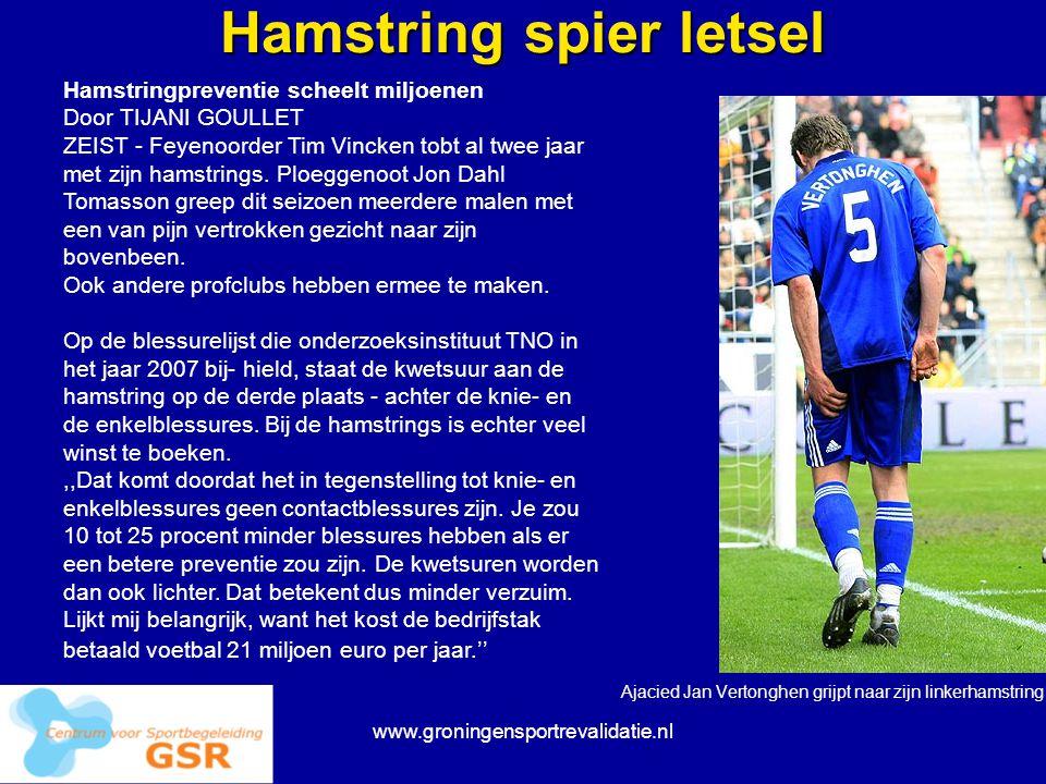 www.groningensportrevalidatie.nl Hamstring spier letsel Ajacied Jan Vertonghen grijpt naar zijn linkerhamstring. Hamstringpreventie scheelt miljoenen