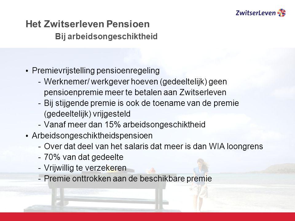 Pagina 14 Het Zwitserleven Pensioen Bij arbeidsongeschiktheid Premievrijstelling pensioenregeling -Werknemer/ werkgever hoeven (gedeeltelijk) geen pensioenpremie meer te betalen aan Zwitserleven -Bij stijgende premie is ook de toename van de premie (gedeeltelijk) vrijgesteld -Vanaf meer dan 15% arbeidsongeschiktheid Arbeidsongeschiktheidspensioen -Over dat deel van het salaris dat meer is dan WIA loongrens -70% van dat gedeelte -Vrijwillig te verzekeren -Premie onttrokken aan de beschikbare premie