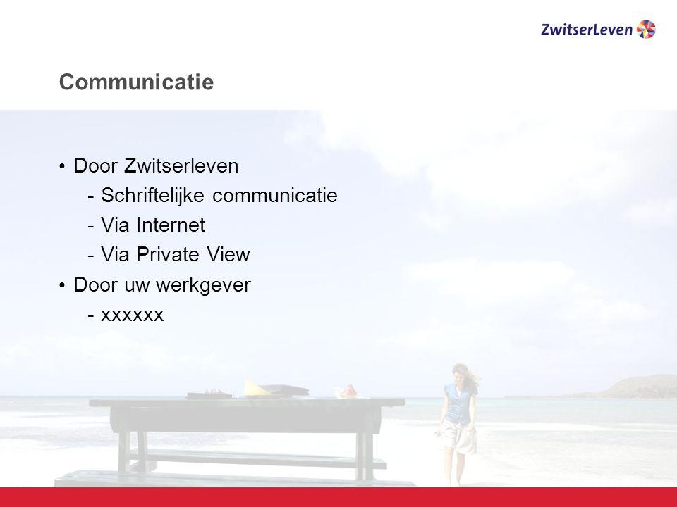 Pagina 23 Communicatie Door Zwitserleven -Schriftelijke communicatie -Via Internet -Via Private View Door uw werkgever -xxxxxx
