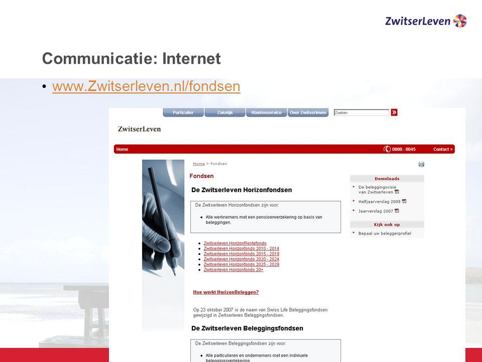 Pagina 25 Communicatie: Internet www.Zwitserleven.nl/fondsen