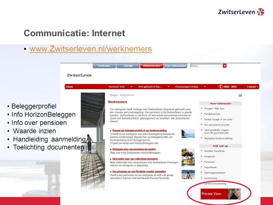 Pagina 26 Communicatie: Internet www.Zwitserleven.nl/werknemers Beleggerprofiel Info HorizonBeleggen Info over pensioen Waarde inzien Handleiding aanmelding Toelichting documenten