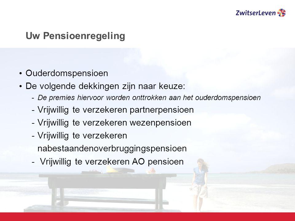 Pagina 9 Uw Pensioenregeling Ouderdomspensioen De volgende dekkingen zijn naar keuze: -De premies hiervoor worden onttrokken aan het ouderdomspensioen -Vrijwillig te verzekeren partnerpensioen -Vrijwillig te verzekeren wezenpensioen -Vrijwillig te verzekeren nabestaandenoverbruggingspensioen - Vrijwillig te verzekeren AO pensioen