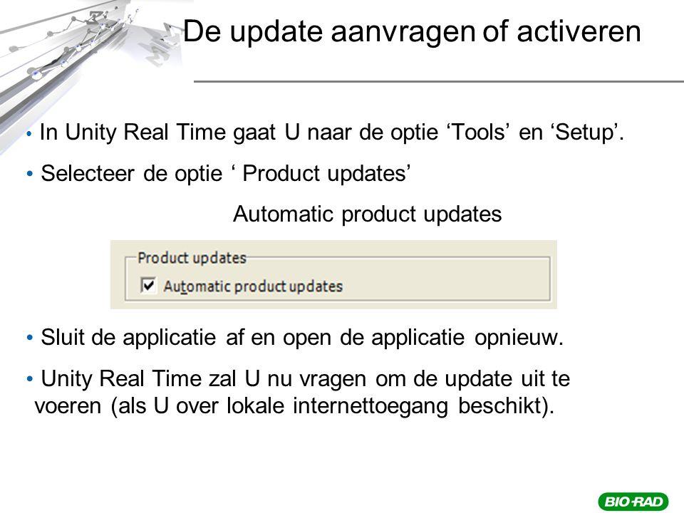In Unity Real Time gaat U naar de optie 'Tools' en 'Setup'.