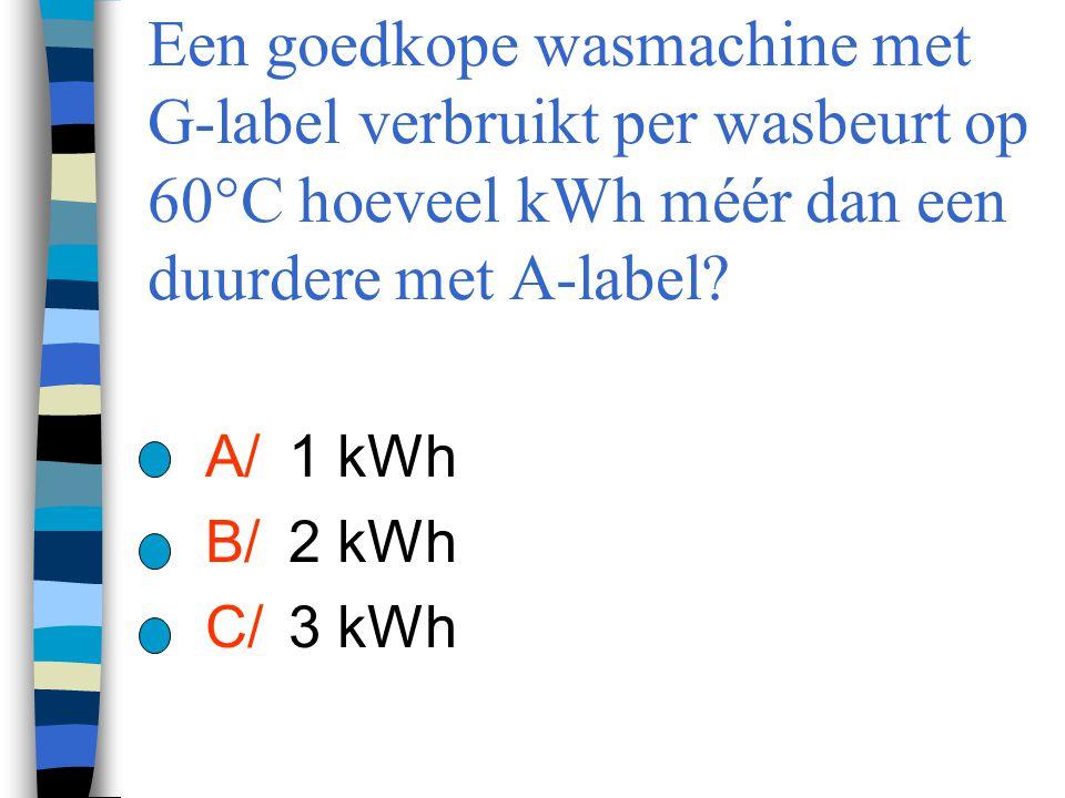Een goedkope wasmachine met G-label verbruikt per wasbeurt op 60°C hoeveel kWh méér dan een duurdere met A-label? A/ 1 kWh B/ 2 kWh C/ 3 kWh