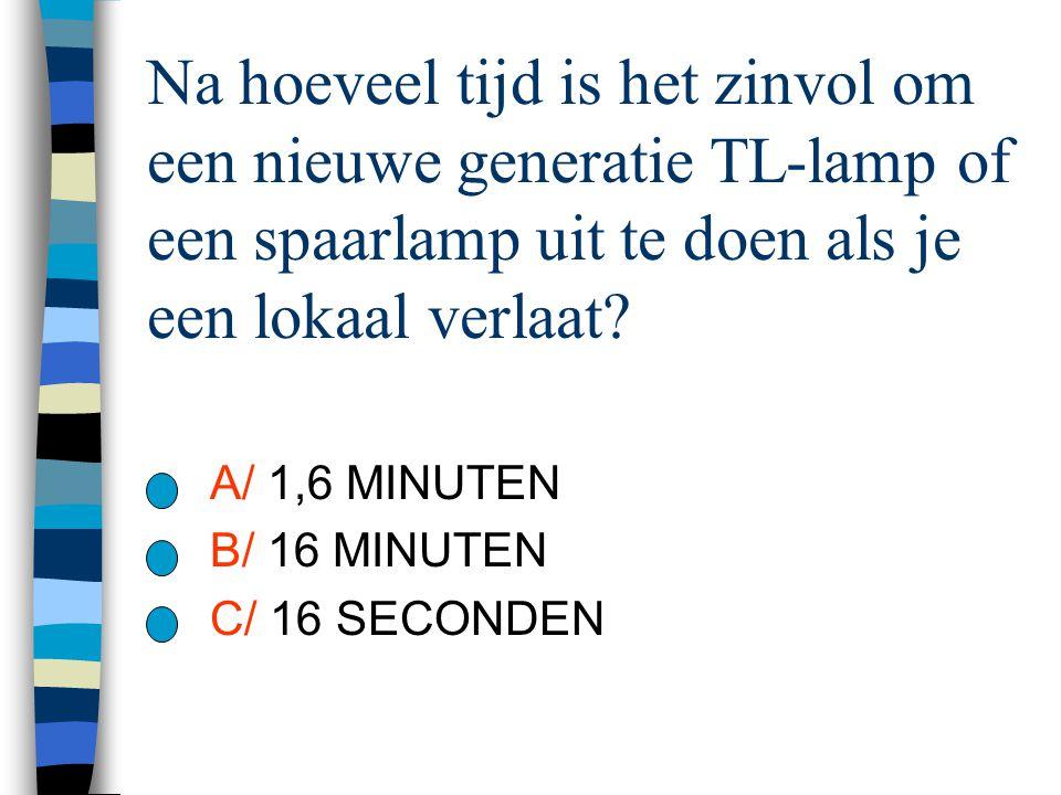 Na hoeveel tijd is het zinvol om een nieuwe generatie TL-lamp of een spaarlamp uit te doen als je een lokaal verlaat? A/ 1,6 MINUTEN B/ 16 MINUTEN C/
