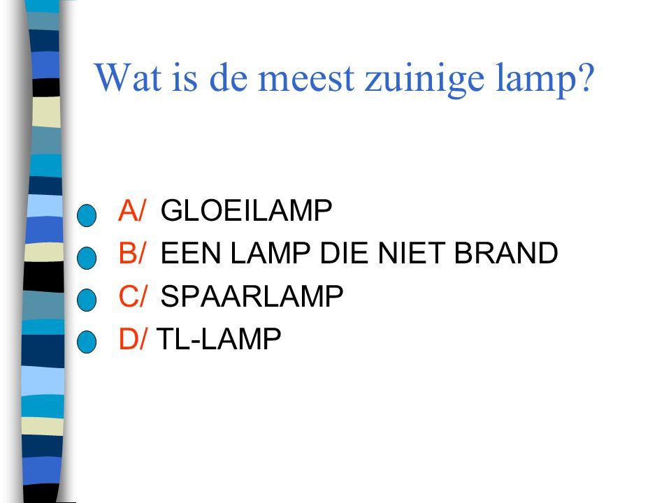 Wat is de meest zuinige lamp? A/GLOEILAMP B/EEN LAMP DIE NIET BRAND C/SPAARLAMP D/ TL-LAMP