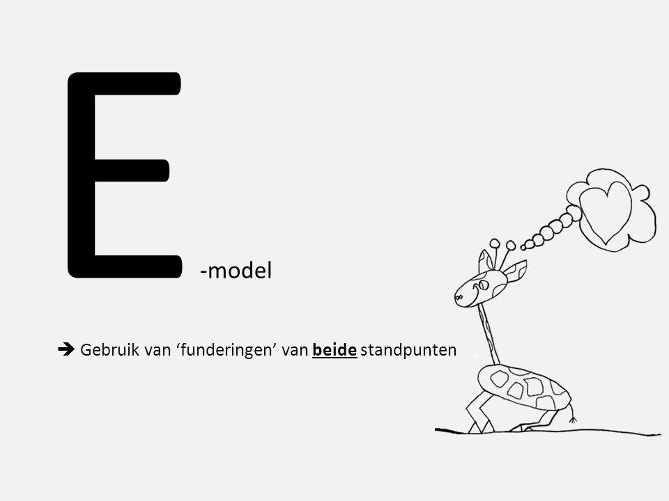 E -model  Gebruik van 'funderingen' van beide standpunten