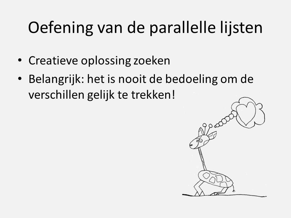 Oefening van de parallelle lijsten Creatieve oplossing zoeken Belangrijk: het is nooit de bedoeling om de verschillen gelijk te trekken!