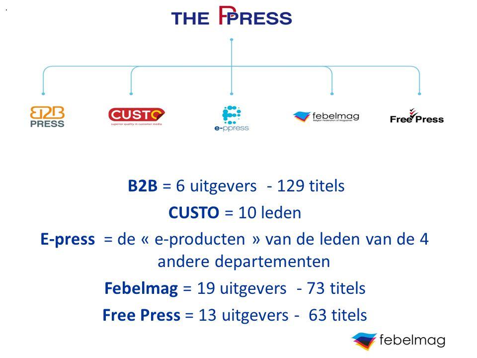 g B2B = 6 uitgevers - 129 titels CUSTO = 10 leden E-press = de « e-producten » van de leden van de 4 andere departementen Febelmag = 19 uitgevers - 73