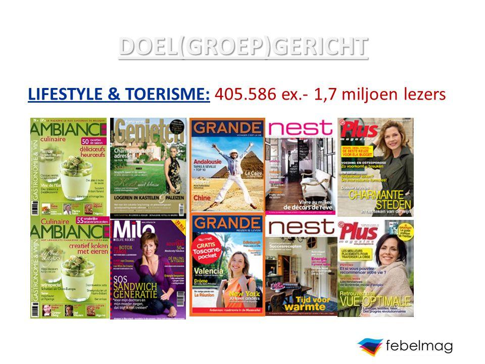 DOEL(GROEP)GERICHT LIFESTYLE & TOERISME: 405.586 ex.- 1,7 miljoen lezers
