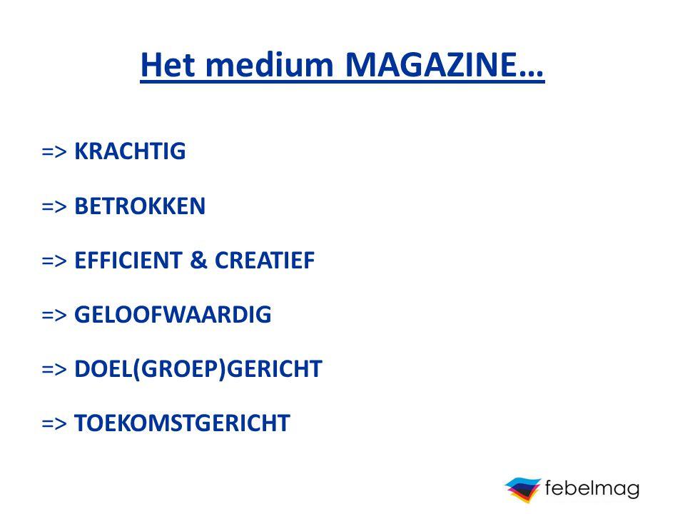 Het medium MAGAZINE… => KRACHTIG => BETROKKEN => EFFICIENT & CREATIEF => GELOOFWAARDIG => DOEL(GROEP)GERICHT => TOEKOMSTGERICHT