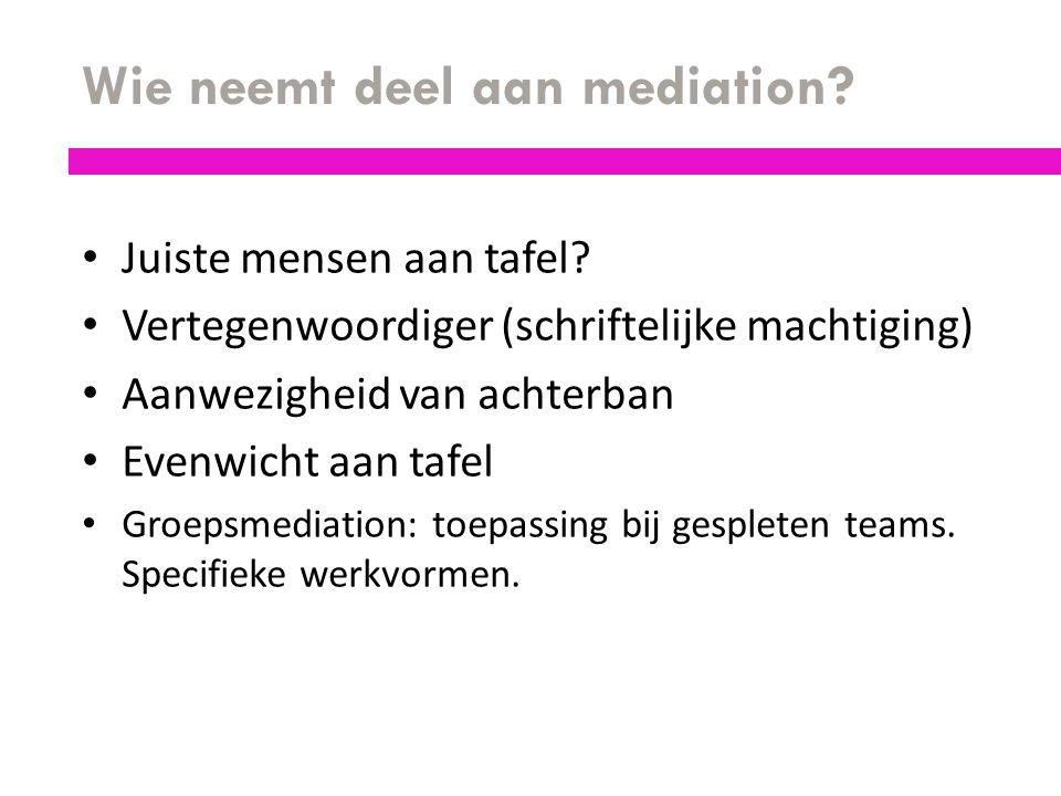 Wie neemt deel aan mediation? Juiste mensen aan tafel? Vertegenwoordiger (schriftelijke machtiging) Aanwezigheid van achterban Evenwicht aan tafel Gro