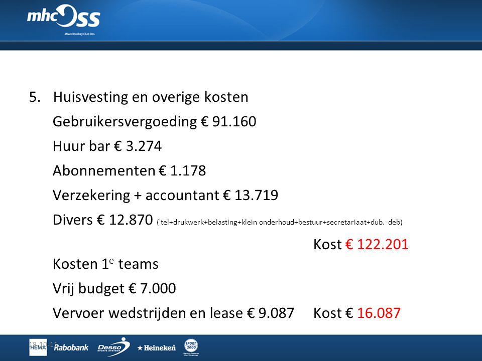 5.Huisvesting en overige kosten Gebruikersvergoeding € 91.160 Huur bar € 3.274 Abonnementen € 1.178 Verzekering + accountant € 13.719 Divers € 12.870