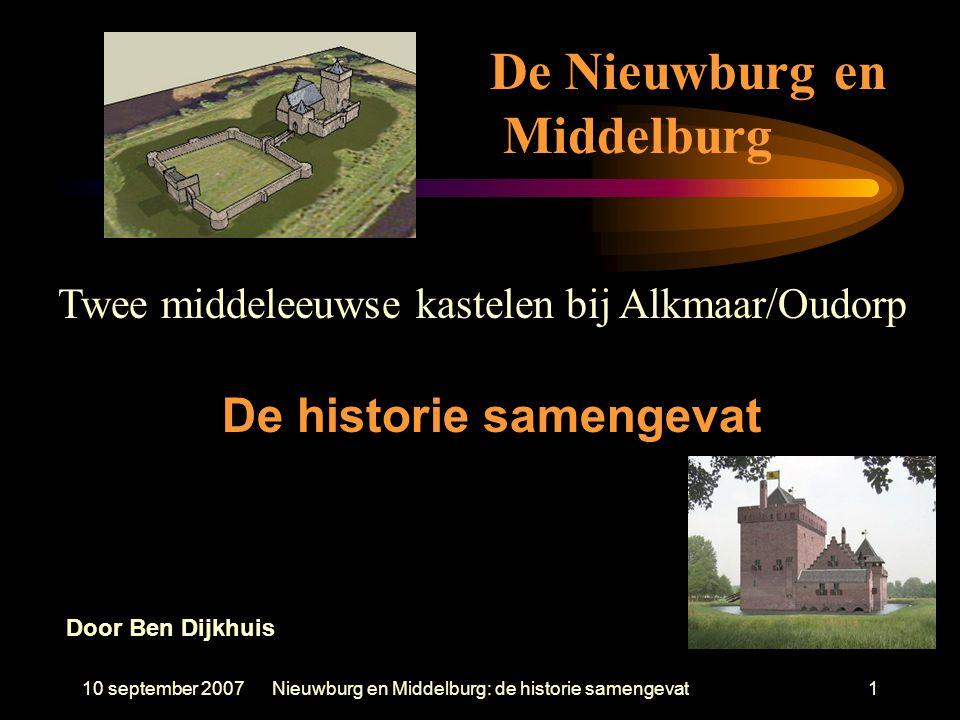 10 september 2007Nieuwburg en Middelburg: de historie samengevat1 Twee middeleeuwse kastelen bij Alkmaar/Oudorp De historie samengevat De Nieuwburg en