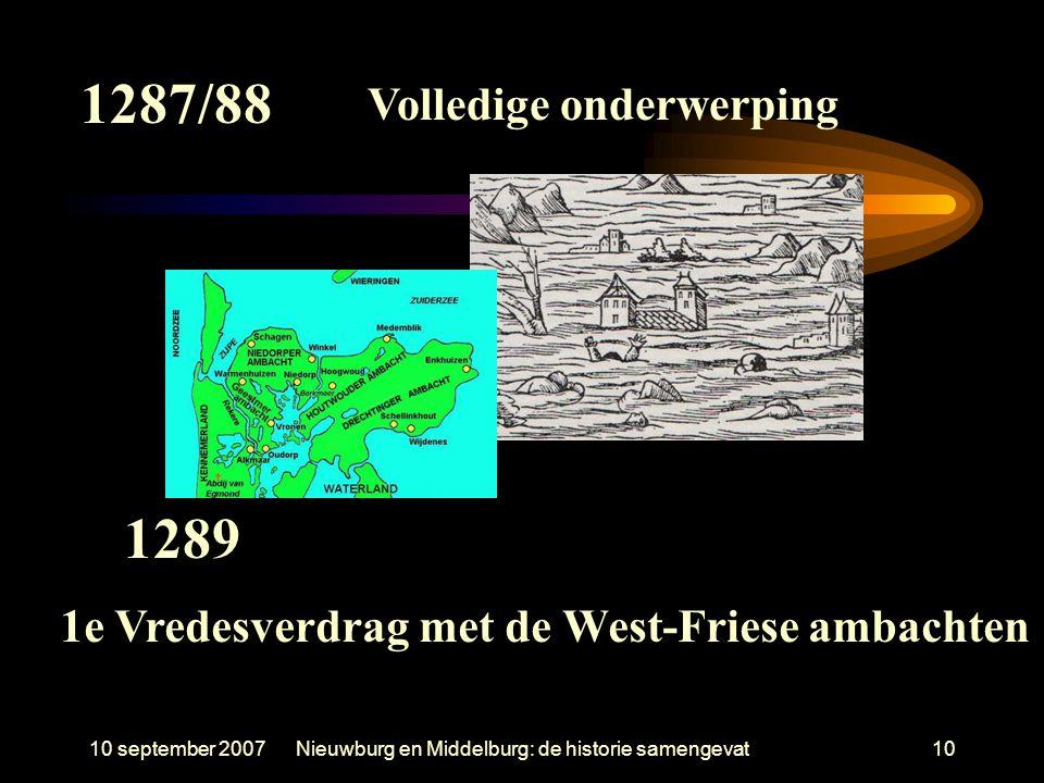 10 september 2007Nieuwburg en Middelburg: de historie samengevat10 1287/88 Volledige onderwerping 1289 1e Vredesverdrag met de West-Friese ambachten
