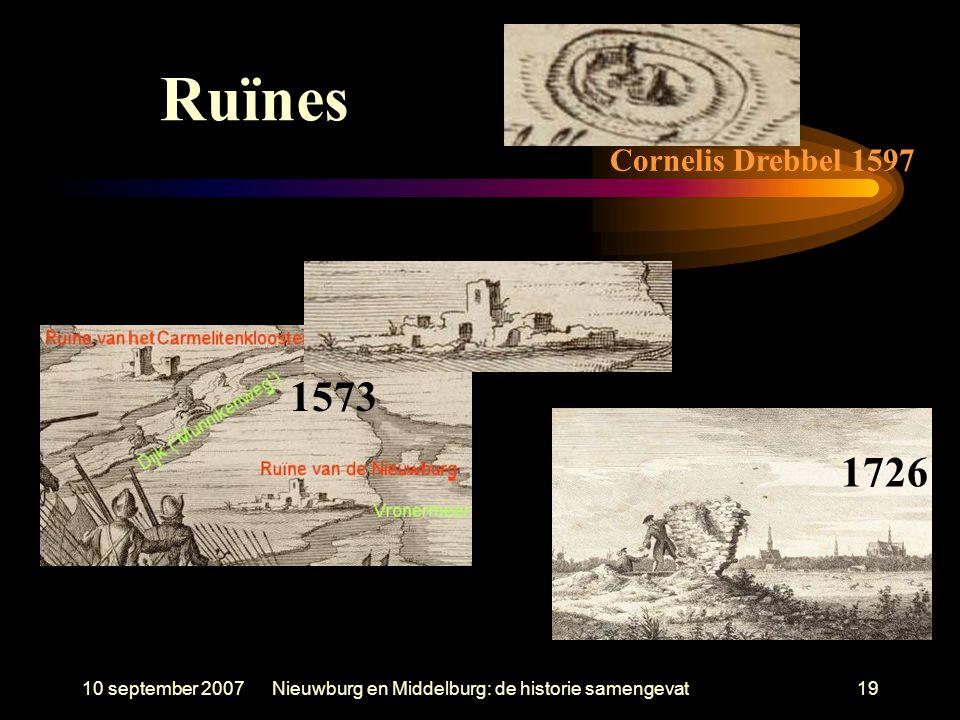 10 september 2007Nieuwburg en Middelburg: de historie samengevat19 Ruïnes 1573 Cornelis Drebbel 1597 1726
