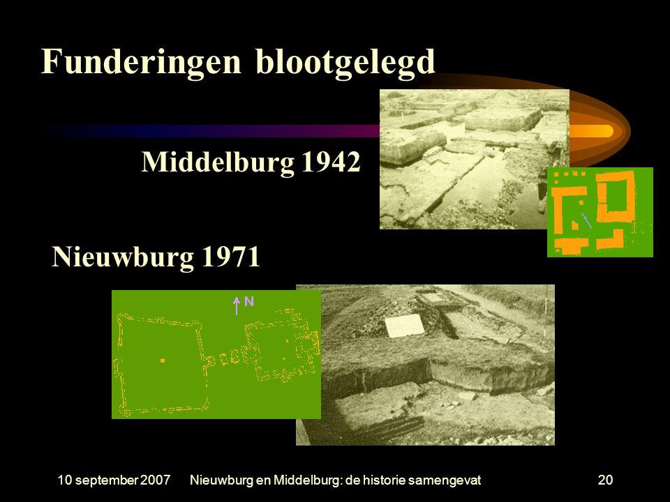 10 september 2007Nieuwburg en Middelburg: de historie samengevat20 Middelburg 1942 Nieuwburg 1971 Funderingen blootgelegd