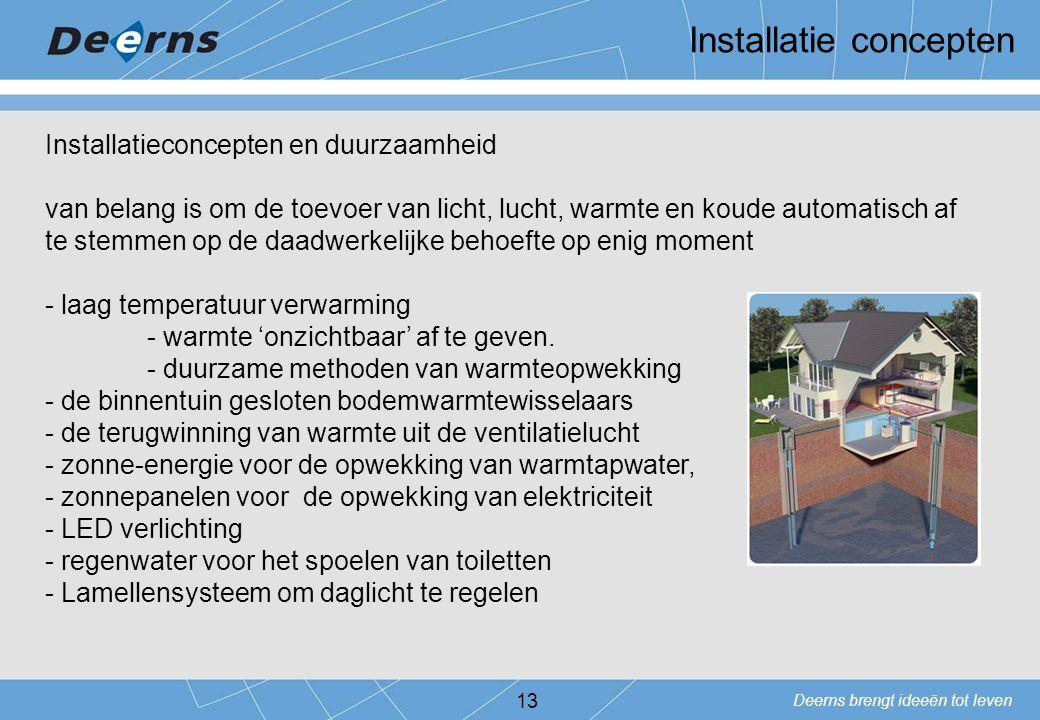 Deerns brengt ideeën tot leven Installatie concepten 13 Installatieconcepten en duurzaamheid van belang is om de toevoer van licht, lucht, warmte en k