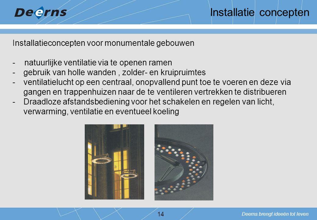 Deerns brengt ideeën tot leven 14 Installatieconcepten voor monumentale gebouwen - natuurlijke ventilatie via te openen ramen -gebruik van holle wande