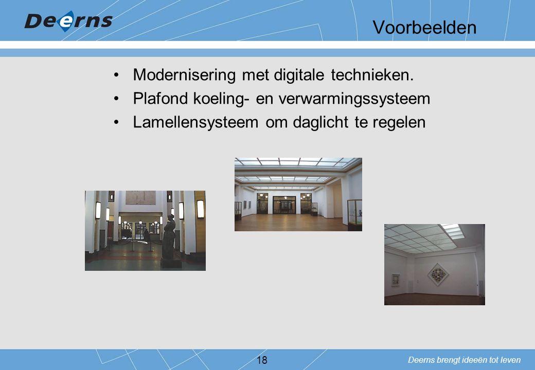 Deerns brengt ideeën tot leven 18 Voorbeelden Modernisering met digitale technieken. Plafond koeling- en verwarmingssysteem Lamellensysteem om daglich