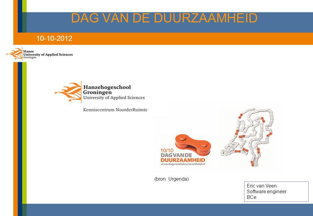 DAG VAN DE DUURZAAMHEID Eric van Veen Software engineer BCe (bron: Urgenda) 10-10-2012