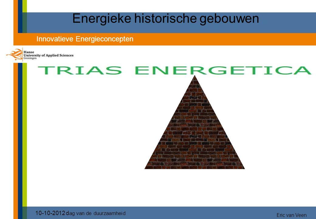 Energieke historische gebouwen 10-10-2012 d ag van de duurzaamheid Innovatieve Energieconcepten Eric van Veen