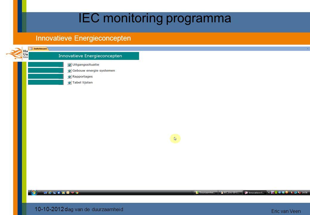 IEC monitoring programma 10-10-2012 d ag van de duurzaamheid Innovatieve Energieconcepten Eric van Veen