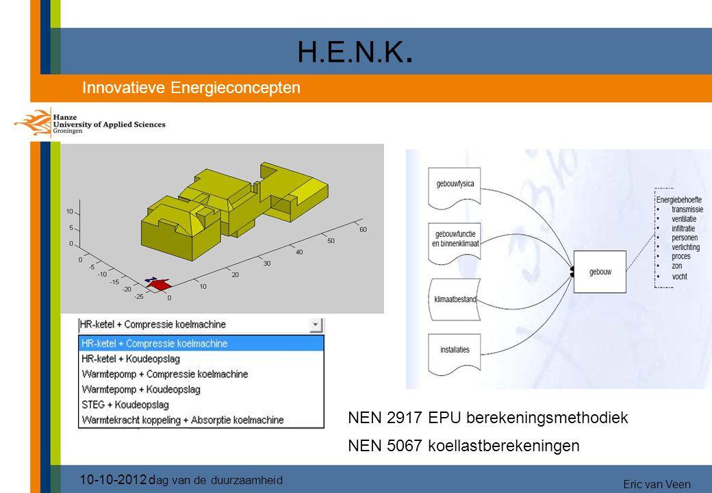 NEN 2917 EPU berekeningsmethodiek NEN 5067 koellastberekeningen H.E.N.K. 10-10-2012 d ag van de duurzaamheid Innovatieve Energieconcepten Eric van Vee