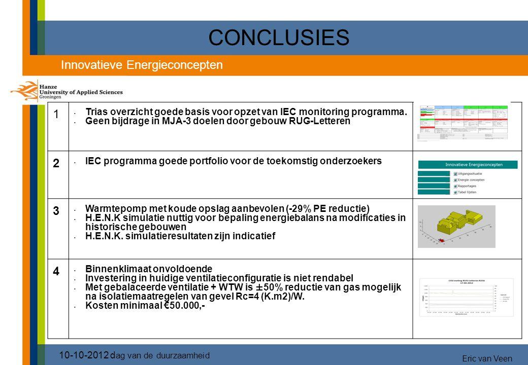 CONCLUSIES 1 Trias overzicht goede basis voor opzet van IEC monitoring programma. Geen bijdrage in MJA-3 doelen door gebouw RUG-Letteren 2 IEC program