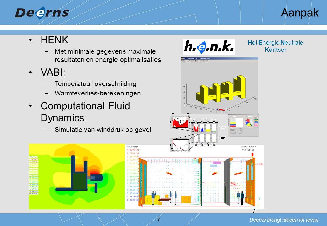 Deerns brengt ideeën tot leven 7 Aanpak 7 HENK –Met minimale gegevens maximale resultaten en energie-optimalisaties VABI: –Temperatuur-overschrijding
