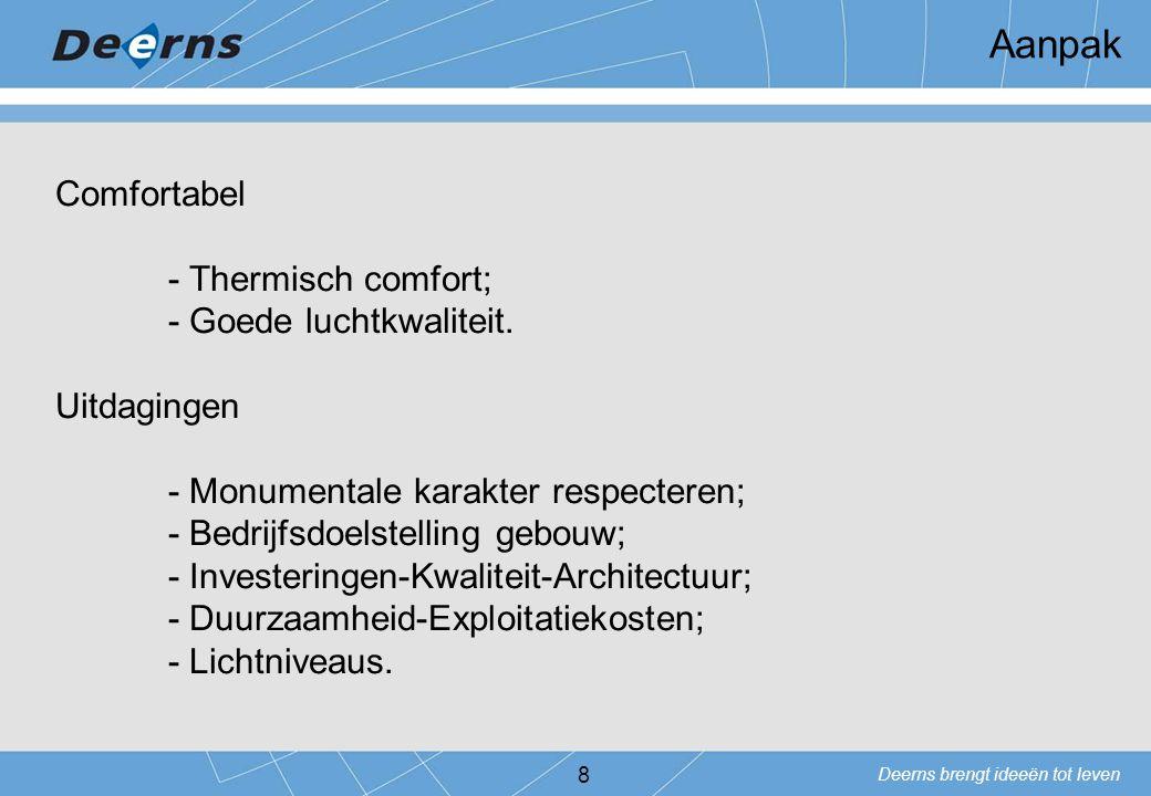 Deerns brengt ideeën tot leven 8 Comfortabel - Thermisch comfort; - Goede luchtkwaliteit. Uitdagingen - Monumentale karakter respecteren; - Bedrijfsdo