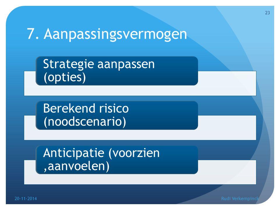 7. Aanpassingsvermogen Strategie aanpassen (opties) Berekend risico (noodscenario) Anticipatie (voorzien,aanvoelen) 20-11-2014 23 Rudi Verkempinck