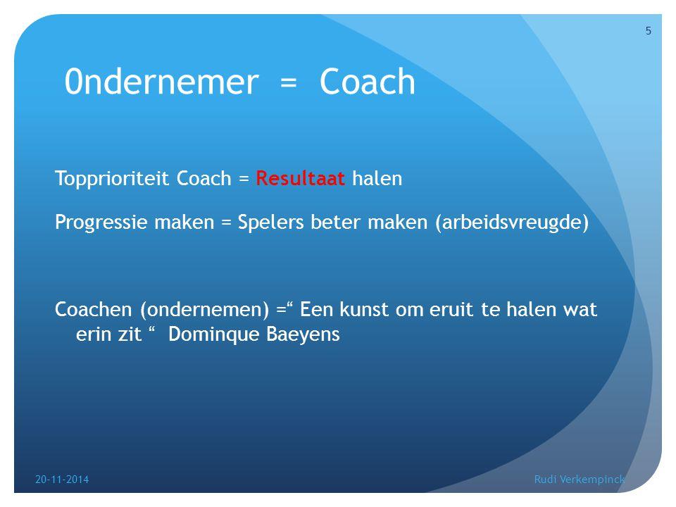 0ndernemer = Coach Topprioriteit Coach = Resultaat halen Progressie maken = Spelers beter maken (arbeidsvreugde) Coachen (ondernemen) = Een kunst om eruit te halen wat erin zit Dominque Baeyens 20-11-2014 5 Rudi Verkempinck