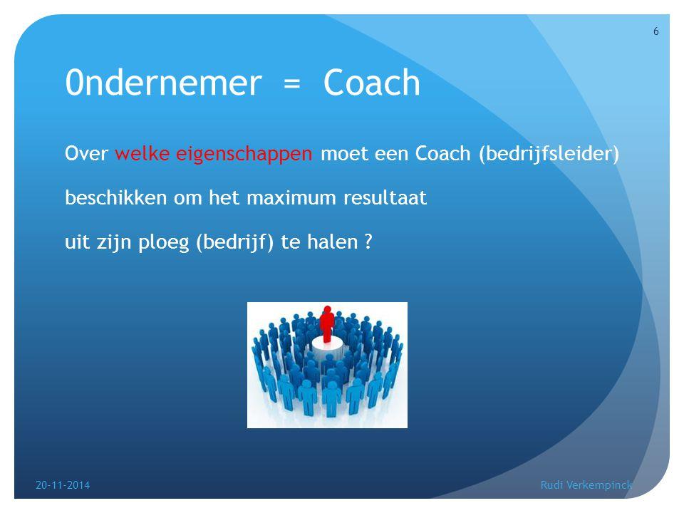 0ndernemer = Coach Over welke eigenschappen moet een Coach (bedrijfsleider) beschikken om het maximum resultaat uit zijn ploeg (bedrijf) te halen ? 20