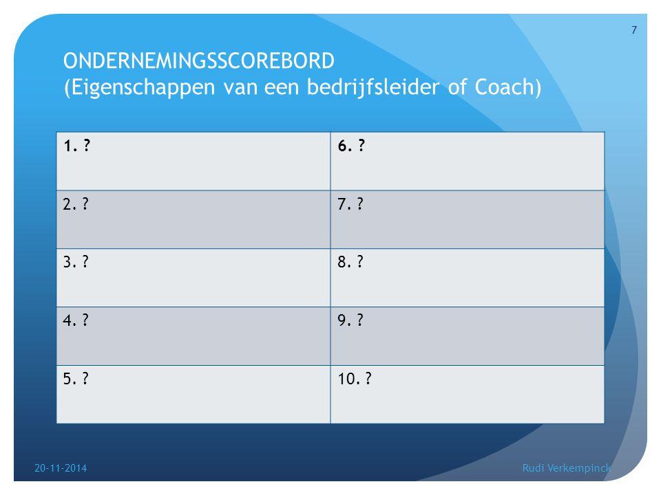 ONDERNEMINGSSCOREBORD (Eigenschappen van een bedrijfsleider of Coach) 1. ?6. ? 2. ?7. ? 3. ?8. ? 4. ?9. ? 5. ?10. ? 20-11-2014 7 Rudi Verkempinck