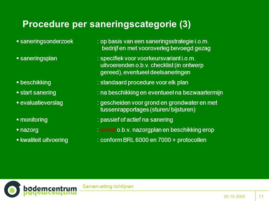 11 26-10-2005 Samenvatting richtlijnen Procedure per saneringscategorie (3)  saneringsonderzoek: op basis van een saneringsstrategie i.o.m.