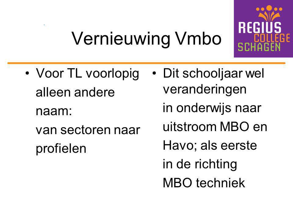 Vernieuwing Vmbo Voor TL voorlopig alleen andere naam: van sectoren naar profielen Dit schooljaar wel veranderingen in onderwijs naar uitstroom MBO en