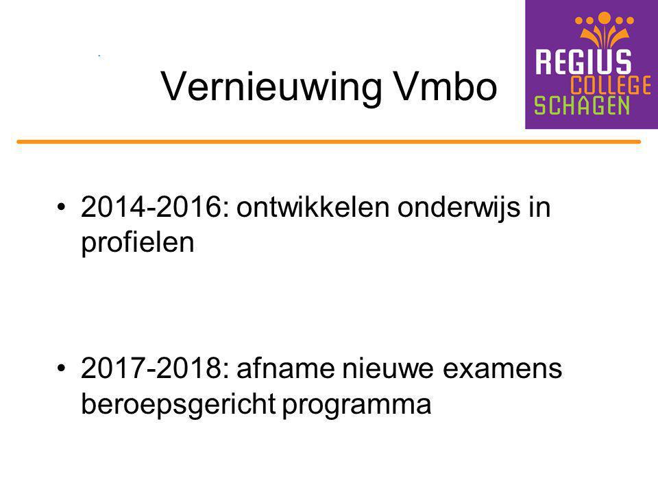 Vernieuwing Vmbo 2014-2016: ontwikkelen onderwijs in profielen 2017-2018: afname nieuwe examens beroepsgericht programma