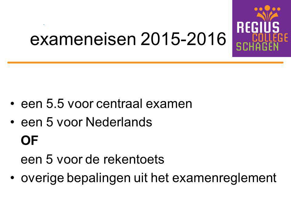exameneisen 2015-2016 een 5.5 voor centraal examen een 5 voor Nederlands OF een 5 voor de rekentoets overige bepalingen uit het examenreglement