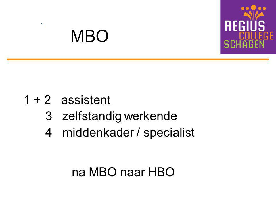 MBO 1 + 2 assistent 3 zelfstandig werkende 4 middenkader / specialist na MBO naar HBO
