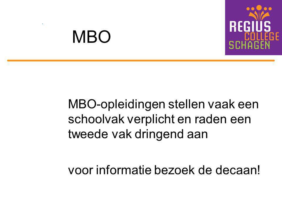 MBO MBO-opleidingen stellen vaak een schoolvak verplicht en raden een tweede vak dringend aan voor informatie bezoek de decaan!