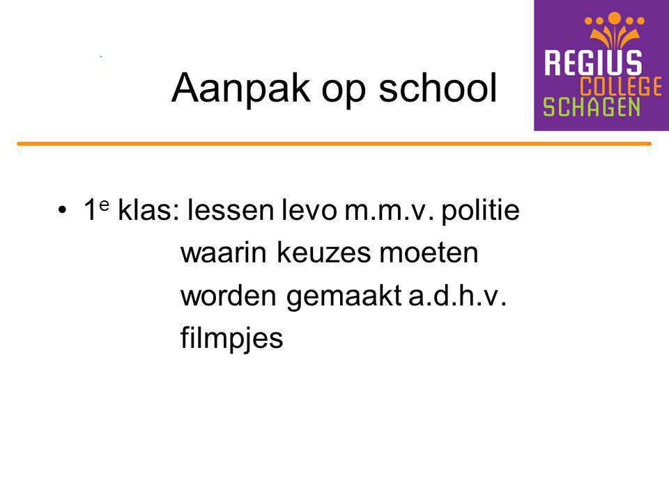 Aanpak op school 1 e klas: lessen levo m.m.v. politie waarin keuzes moeten worden gemaakt a.d.h.v. filmpjes