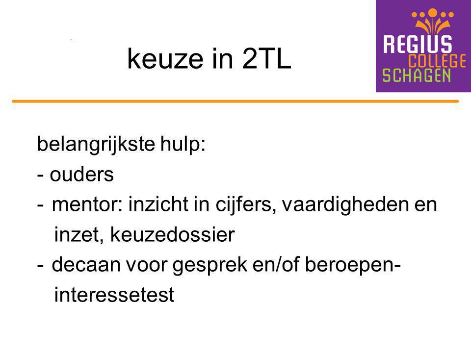 keuze in 2TL belangrijkste hulp: - ouders -mentor: inzicht in cijfers, vaardigheden en inzet, keuzedossier -decaan voor gesprek en/of beroepen- intere