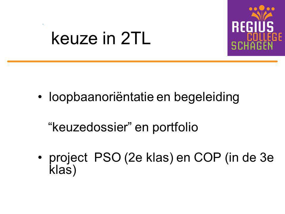 """keuze in 2TL loopbaanoriëntatie en begeleiding """"keuzedossier"""" en portfolio project PSO (2e klas) en COP (in de 3e klas)"""