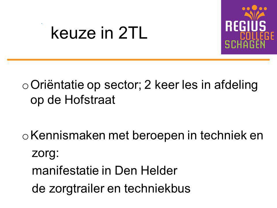 keuze in 2TL o Oriëntatie op sector; 2 keer les in afdeling op de Hofstraat o Kennismaken met beroepen in techniek en zorg: manifestatie in Den Helder